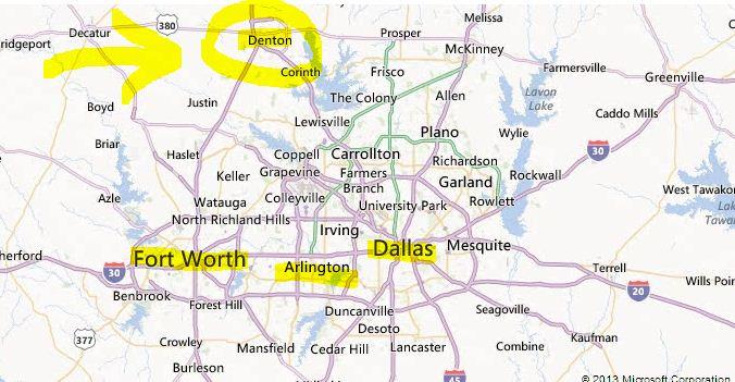 denton location map image