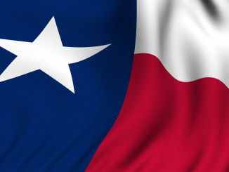 Rendering of a waving flag of the US state of Texas with accurate colors and design and a fabric texture.